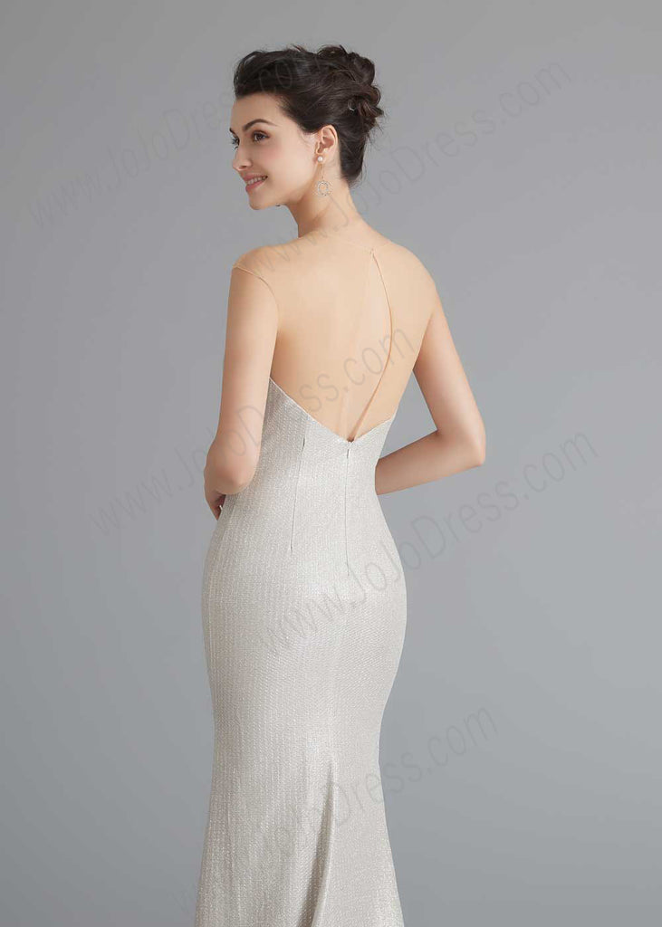 Ivory Shimmery Slim Formal Home Coming Party Dress