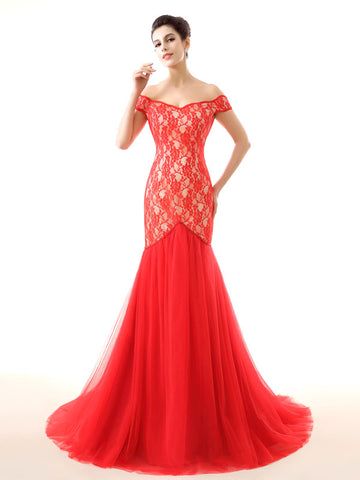 Red Off Shoulder Lace Mermaid Formal Prom Evening Dress