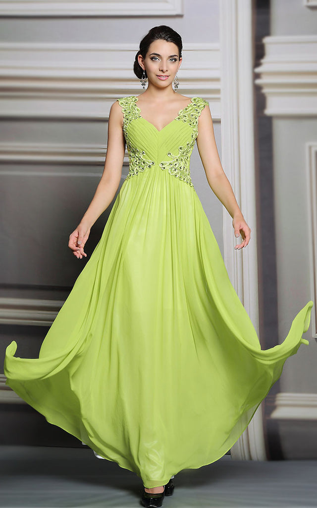 Neon Yellow Long Formal Prom Evening Dress | DQ831236