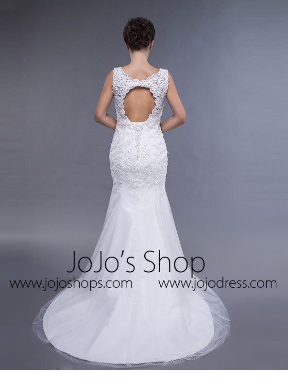 Simple Lace Fit And Flare Wedding Dress With Keyhole Jojo Shop