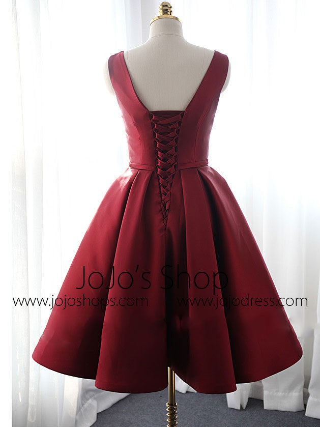 Dark Red Short Satin Bridesmaid Dress