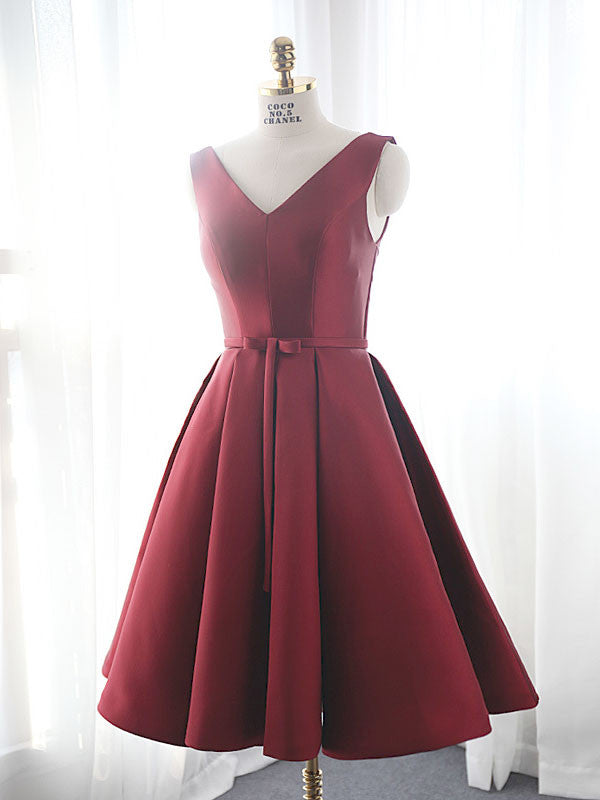 Dark Red Short Dresses