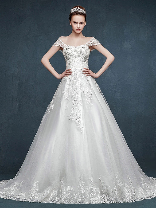 Fairy Tale Lace A-line Wedding Dress with Cap Sleeves – JoJo Shop