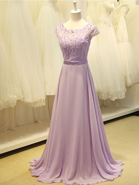 Grecian Modest Lavender Floral Prom Formal Evening Dress
