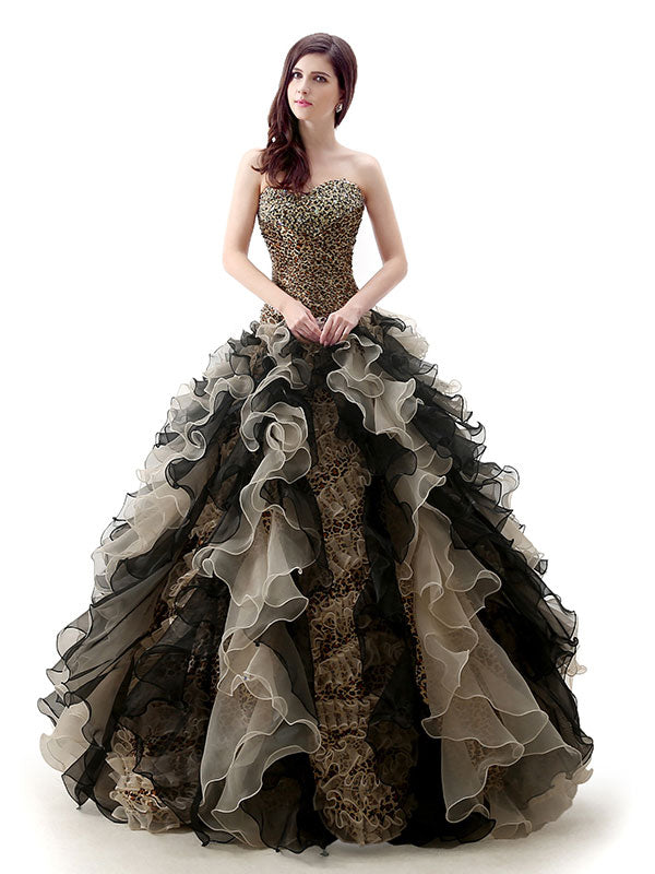 Strapless Leopard Design Black Quinceanera Ball Gown – JoJo Shop