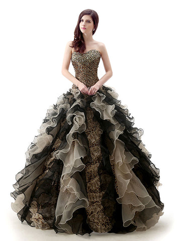 Strapless Leopard Design Black Quinceanera Ball Gown