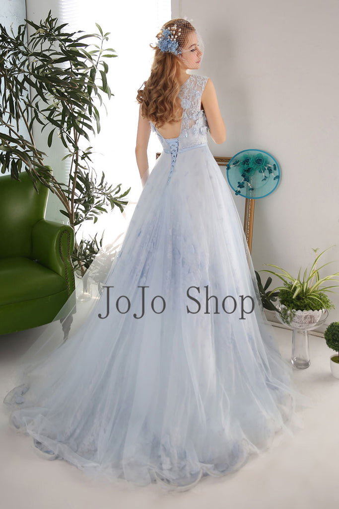 Blue Gray Tulle Formal Prom Evening Dress X2014