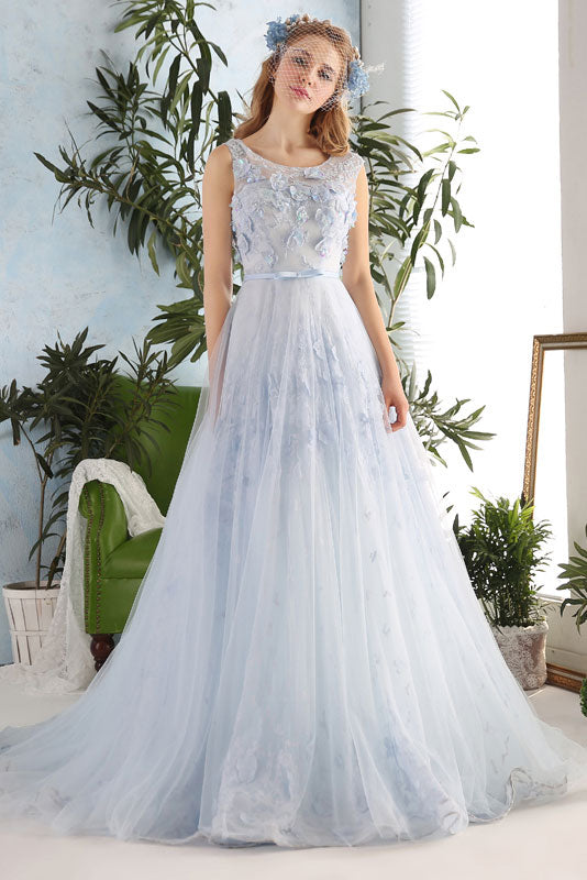 Light Blue Tulle Formal Prom Evening Dress X2014
