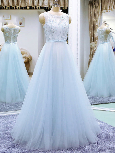 Powder Blue Long Evening Dress with Flowers | K001
