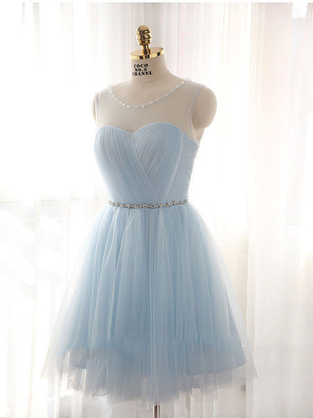 Light Blue Short Tulle Bridesmaids Dress for Fairy tale Wedding