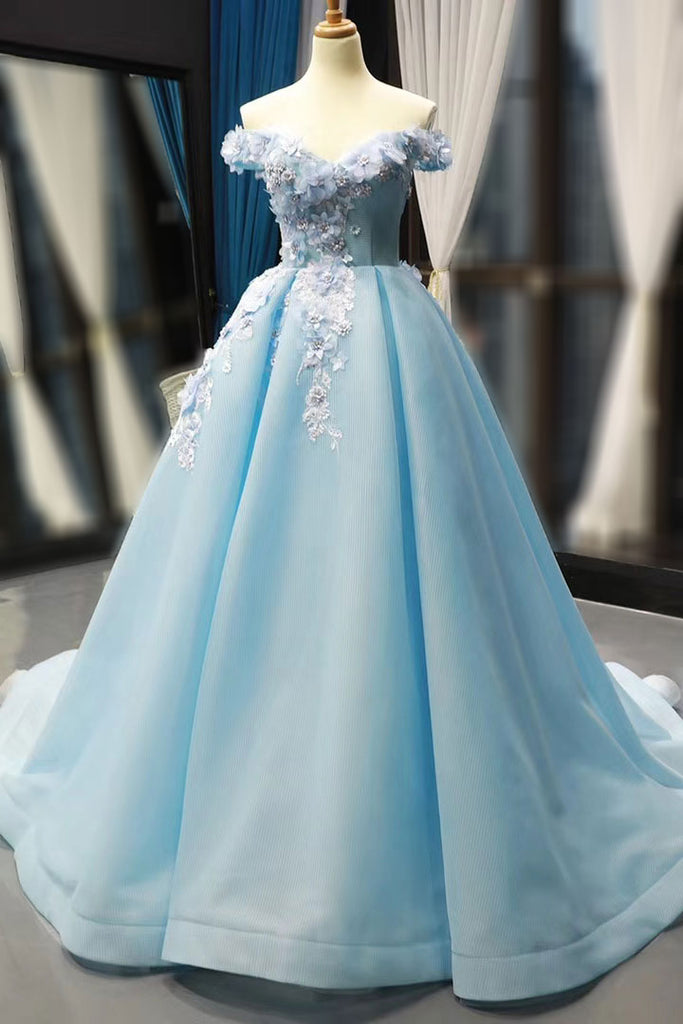 Light Blue Ball Gown with 3D Flowers RS2017