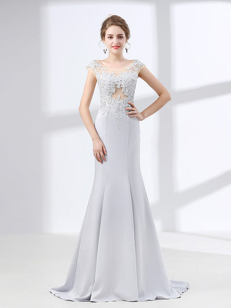 Soft Gray Mermaid Lace Formal Evening Gown