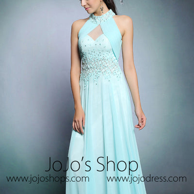 Light Turquoise Halter Long Formal Prom Evening Formal Dress | DQ831259