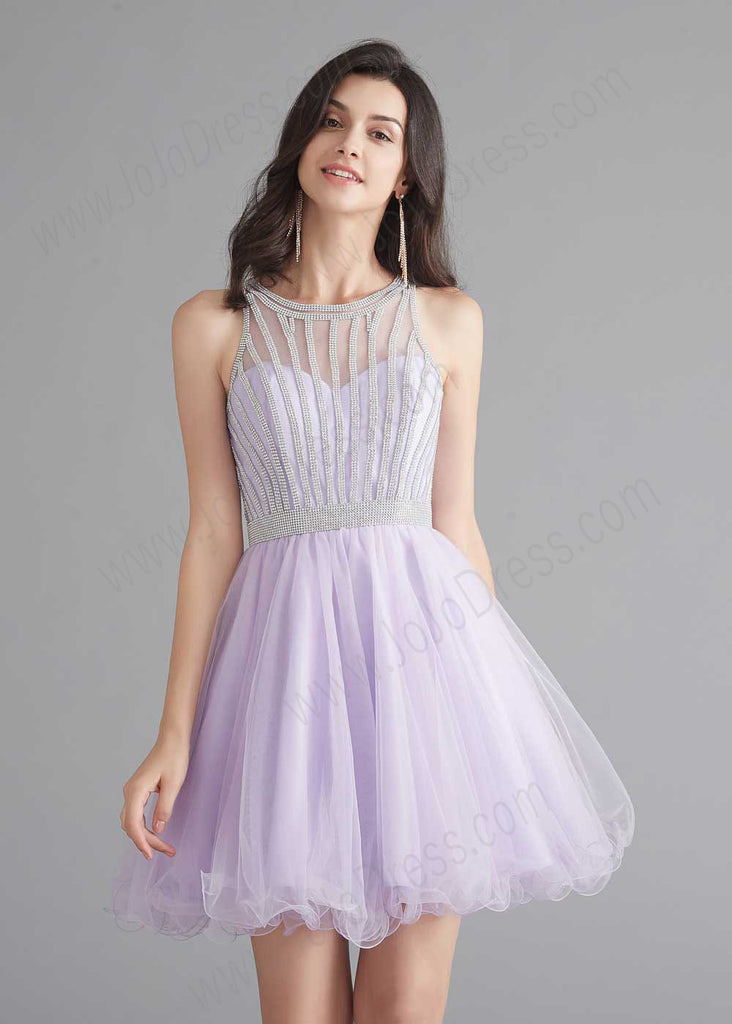 Chic Short Lilac Tulle Evening Dress