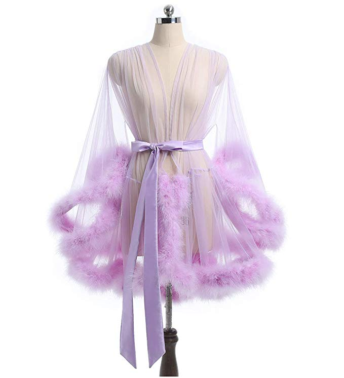 Short Blush Purple Marabou Fur Edge Robe RB1332