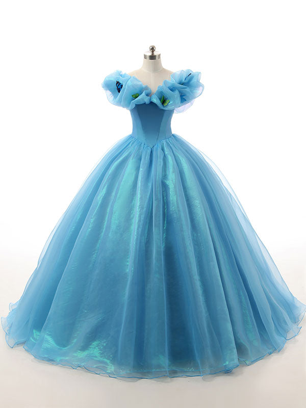 Blue Off Shoulder Cinderella Dress with Butterflies Lite Version