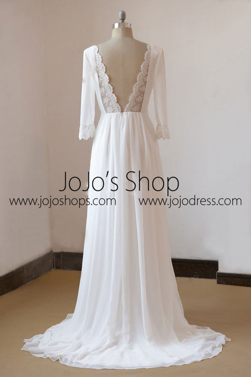 Vintage Boho Style Long Sleeves Chiffon Wedding Dress