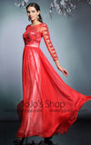 Long Sleeves Red Formal Prom Evening Dress | DQ831229
