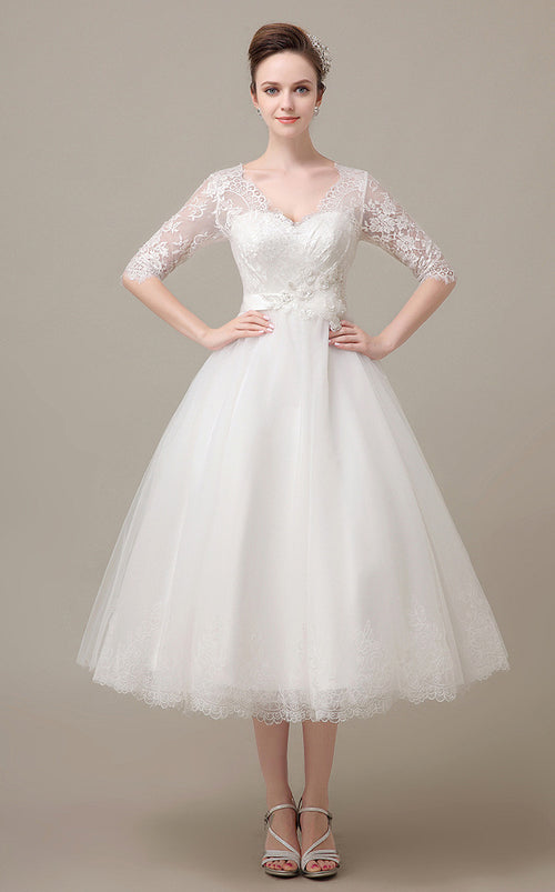 Tea Length Lace Wedding Dress with Sleeves DV2078