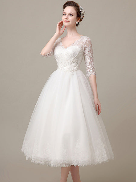 Tea Length Lace Wedding Dress With Sleeves Dv2078 Jojo Shop