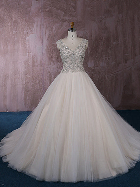 Stunning Tulle Ball Gown Wedding Dress with Jeweled Embroideries | QT815006
