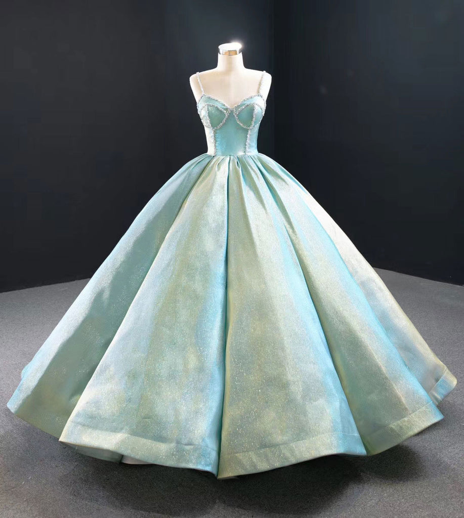 Metallic Green Quinceanera Ball Gown Prom Dress RS2019