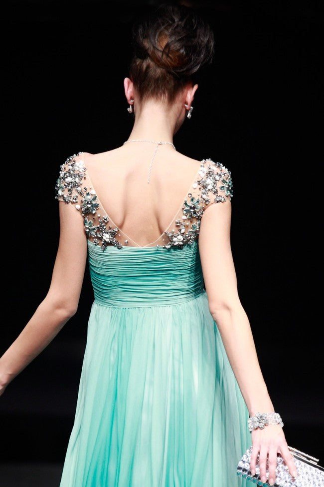 Grecian Green Cap Sleeves Formal Prom Pageant Evening Dress | CX880639