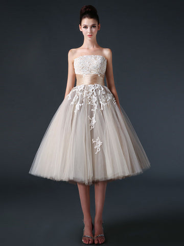 Strapless Mocha Tea Length Tulle Dress with Lace Top