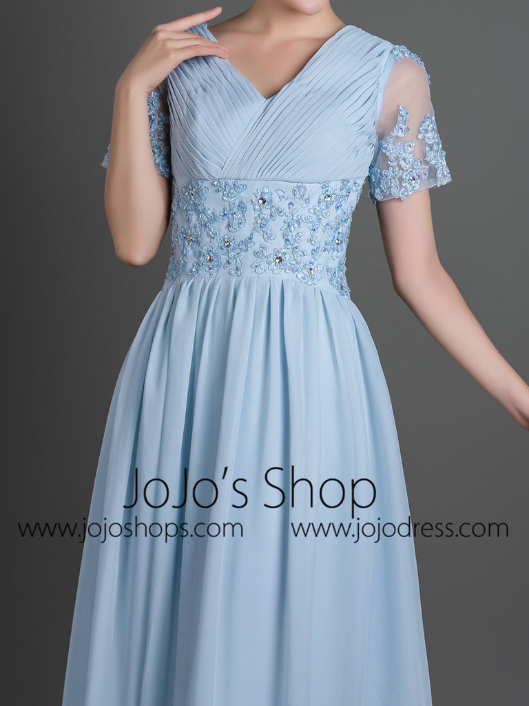 Blue Modest Short Sleeves Chiffon Long Formal Evening Dress