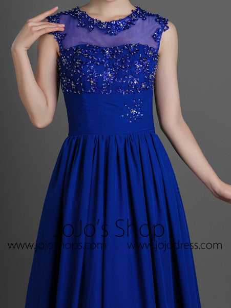 Blue Modest Lace Chiffon Full Length Formal Prom Dress