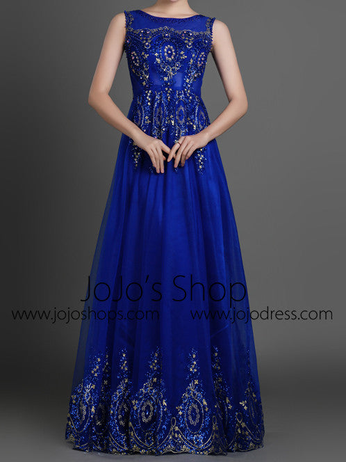 Blue Modest Lace Full Length Evening Dress
