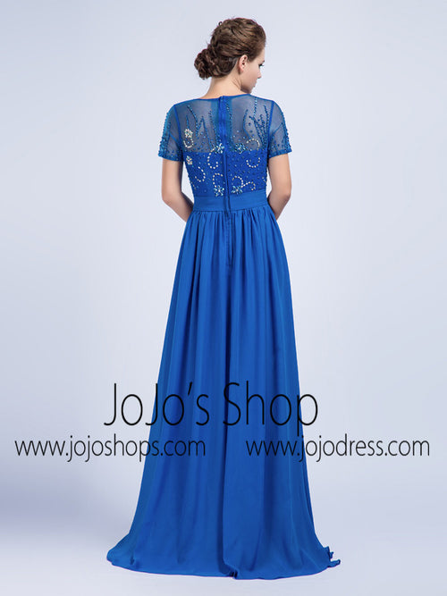 Modest Blue Chiffon Full Length Formal Prom Evening Dress