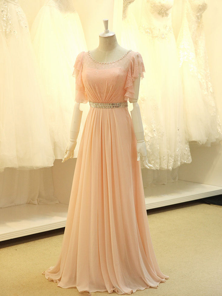 Modest Blush Pink Formal Pageant Evening Dress with Sleeves