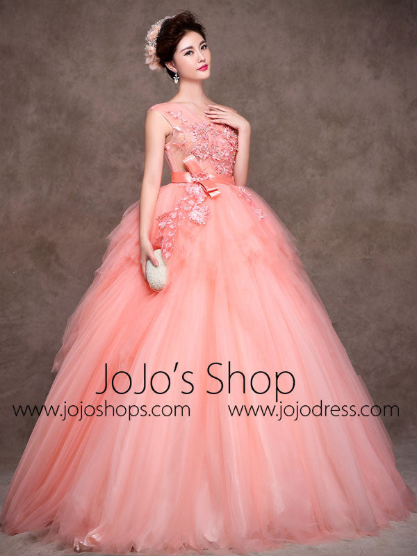 24a9cd7778d5 Blush Pink Quinceanera Tulle Ball Gown Home Coming Prom Dress X004 ...