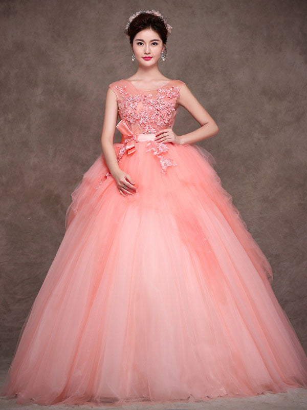 Blush Pink Quinceanera Tulle Ball Gown Home Coming Prom Dress X004 ...
