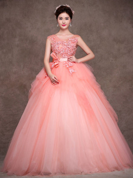 blush pink quinceanera tulle ball gown home coming prom