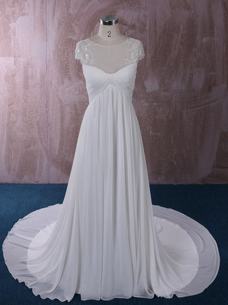 Chiffon Wedding Dress with Illusion Neckline | QT85137
