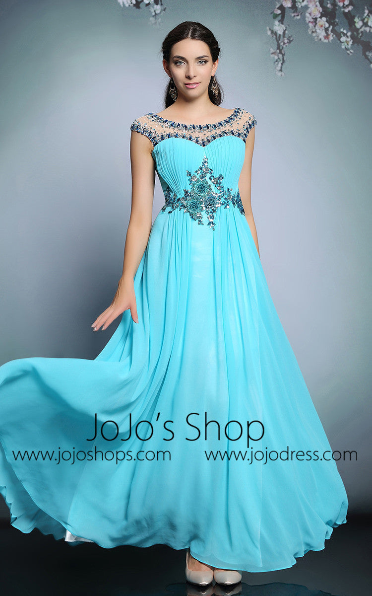 Grecian Turquoise Formal Prom Evening Dress | DQ831227