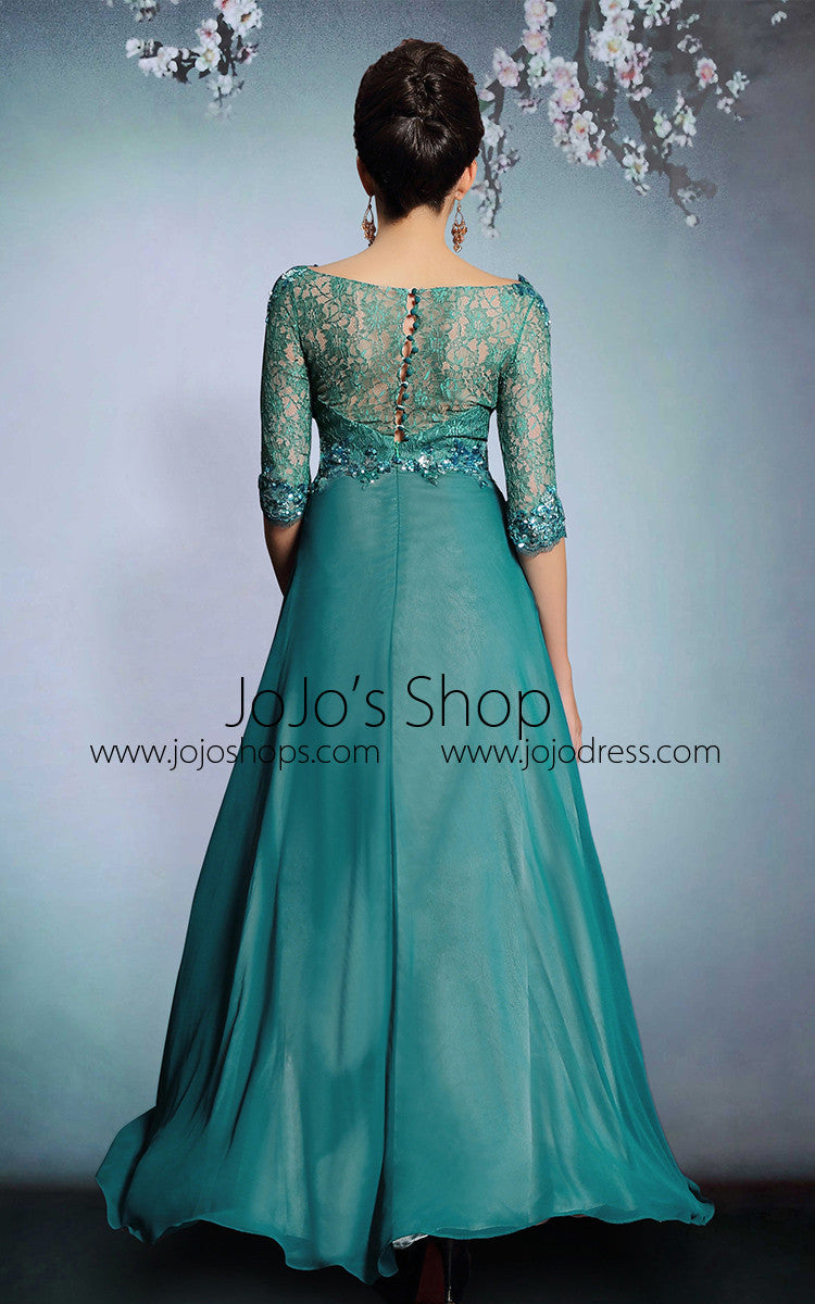 Modest Green Formal Prom Evening Dress With Sleeves | DQ831220
