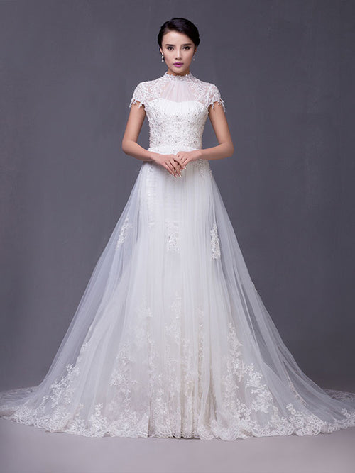 Modest Keyhole A-line Cap Sleeves Lace Overlay Wedding Dress | G2004