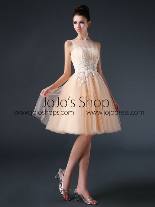 Modest Knee Length Tulle Prom Formal Dress CC3004