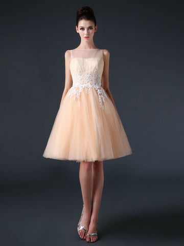 Champagne Modest Knee Length Tulle Prom Formal Dress CC3004