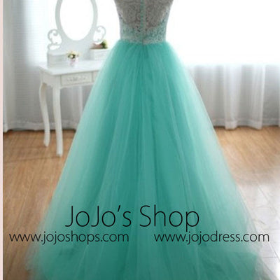 Turquoise Modest Lace Tulle Formal Prom Evening Dress G2014