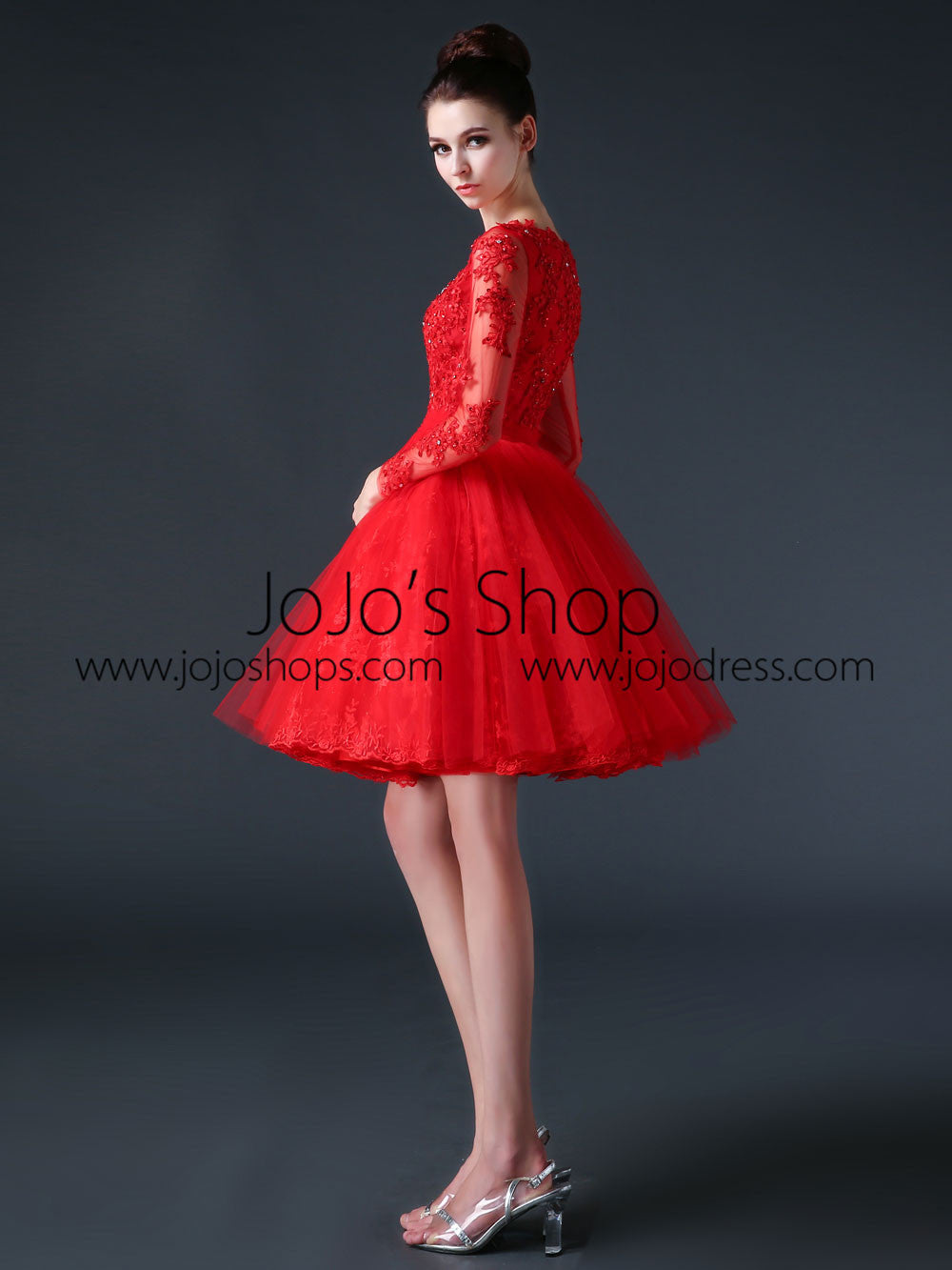 Red Modest Long Sleeves Short Cocktail Prom Dress CC3001