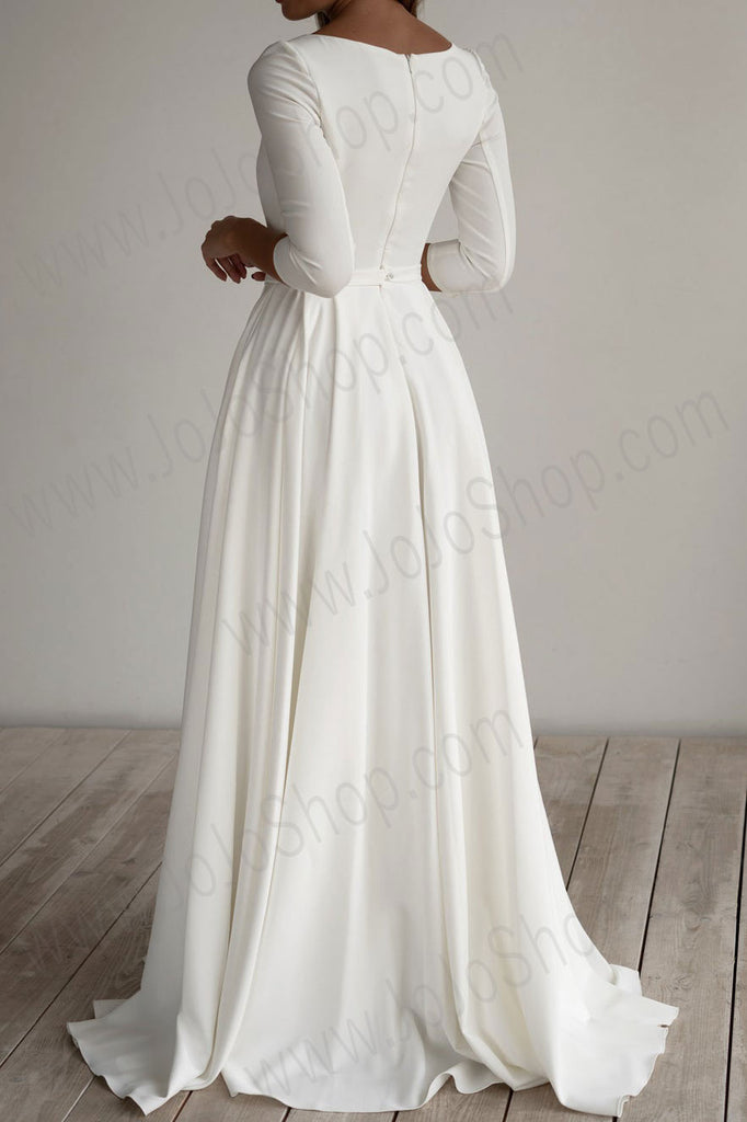 Simple Minimalist Crepe Chiffon Wedding Dress ET3001