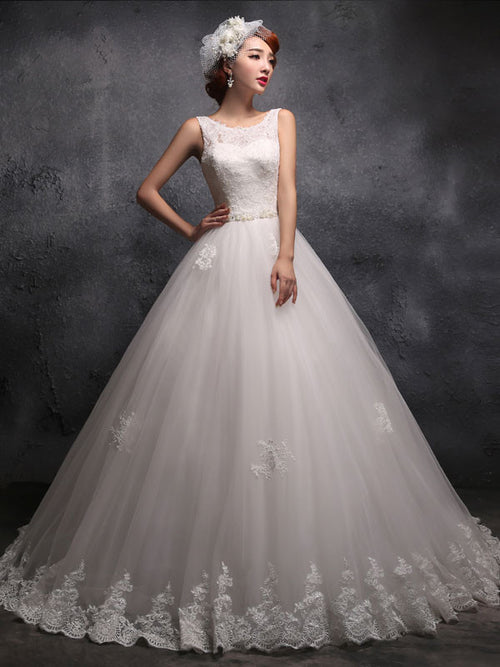 Modest Straps Lace Debutante Ball Gown Wedding Dress X025