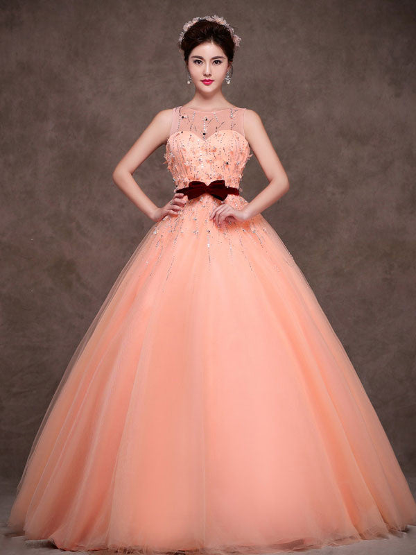 Modest Peach Tulle Quinceanera Ball Gown Formal Evening Prom Dress ...