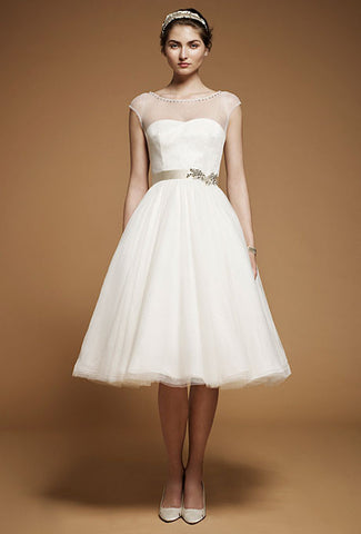 Retro 50s 60s Short Modest Short Sleeves Wedding Dress with Sash