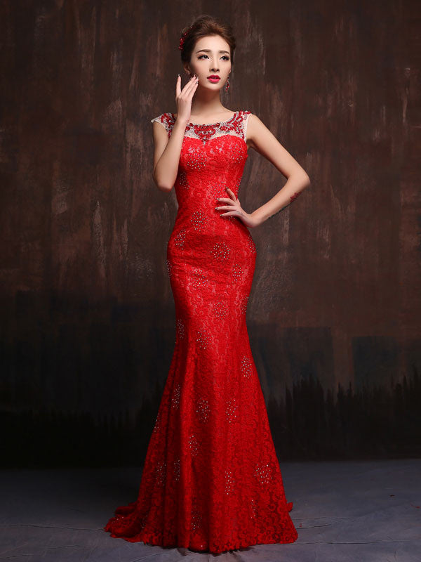 Modest Scarlet Red Fitted Lace Wedding Gown Prom Dress Formal
