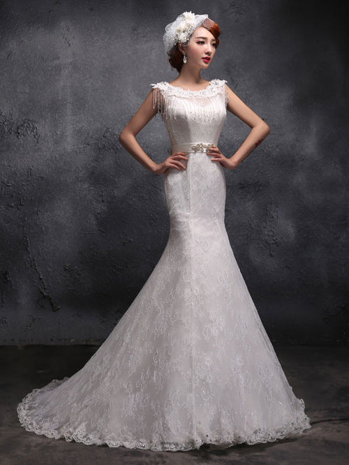 Modest Vintage Lace Fit and Flare Mermaid Wedding Dress X029